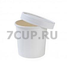 Супница бумажная 445 мл белая с крышкой (50 шт.) Ф