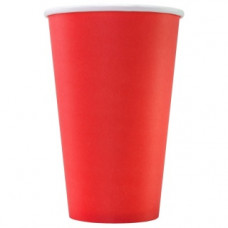 Бумажный стакан 400 мл (480 мл), красный, М (Уп. 50 шт)