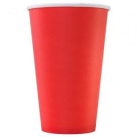 Бумажный стакан 400 мл (480 мл), красный, Э (Уп. 25 шт)