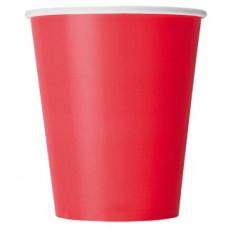 Бумажный стакан 250 мл (280 мл), красный,  Ф (Уп. 75 шт)