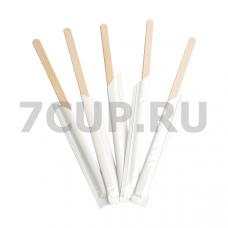 Размешиватель для напитков деревянный 150х7х2.0 мм в индивидуальной плёночной упаковке по 250 шт/уп