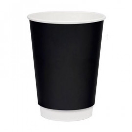 Бумажный стакан 300 мл (350 мл), двухслойный черный Э (Уп. 20 шт)