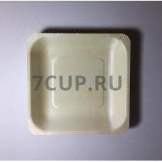 Деревянная квадратная тарелка 140*140 мм (Уп. 50 шт)