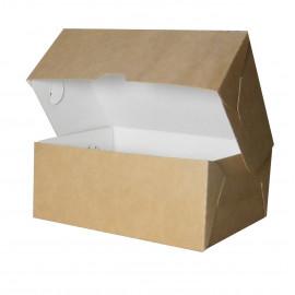 Коробка для пирожных сборная бур/бел, 170*140*50 мм