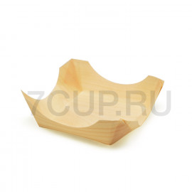 Деревянная тарелка-корзинка для еды  (Уп. 100 шт)