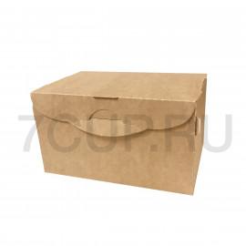 Коробка для пирожных бур/бел, 150*100*85 мм