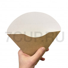 Уголок картонный  бело-бурый большой для блинов (Уп. 50шт)